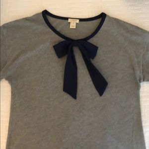 Jcrew short sleeve top with navy bow